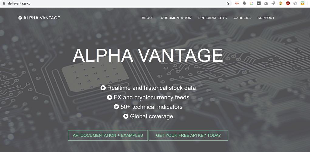 Alpha Vantage Homepage Image