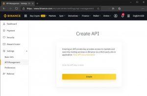 Create API page on Binance